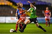 17 October 2018; Jamie Finn of Shelbourne in action against Karen Duggan of Peamount United during the Continental Tyres FAI Women's Cup Semi-Final match between Shelbourne and Peamount United at Tolka Park, Dublin. Photo by Harry Murphy/Sportsfile