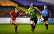 17 October 2018; Karen Duggan of Peamount United in action against Jamie Finn of Shelbourne during the Continental Tyres FAI Women's Cup Semi-Final match between Shelbourne and Peamount United at Tolka Park, Dublin. Photo by Harry Murphy/Sportsfile