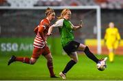 17 October 2018; Amber Barrett of Peamount United in action against Jessica Gleeson of Shelbourne during the Continental Tyres FAI Women's Cup Semi-Final match between Shelbourne and Peamount United at Tolka Park, Dublin. Photo by Harry Murphy/Sportsfile
