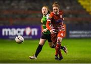 17 October 2018; Jessica Gleeson of Shelbourne in action against Amber Barrett of Peamount United during the Continental Tyres FAI Women's Cup Semi-Final match between Shelbourne and Peamount United at Tolka Park, Dublin. Photo by Harry Murphy/Sportsfile