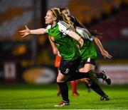 17 October 2018; Amber Barrett of Peamount United  celebrates after scoring her side's second goal during the Continental Tyres FAI Women's Cup Semi-Final match between Shelbourne and Peamount United at Tolka Park, Dublin. Photo by Harry Murphy/Sportsfile