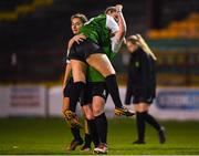 17 October 2018; Amber Barrett of Peamount United celebrates with teammate Lauren Kealy during the Continental Tyres FAI Women's Cup Semi-Final match between Shelbourne and Peamount United at Tolka Park, Dublin. Photo by Harry Murphy/Sportsfile
