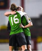 17 October 2018; Amber Barrett of Peamount United celebrates with teammate Karen Duggan following the Continental Tyres FAI Women's Cup Semi-Final match between Shelbourne and Peamount United at Tolka Park, Dublin. Photo by Harry Murphy/Sportsfile
