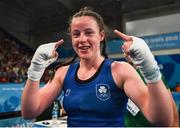 17 October 2018; Dearbhla Rooney of Team Ireland, from Manorhamilton, Leitrim, after beating Te Mania Rzeka Tai Shelford-Edmonds of New Zealand during the women's featherweight bronze medal bout on Day 11 of the Youth Olympic Games in Buenos Aires, Argentina. Photo by Eóin Noonan/Sportsfile