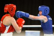 17 October 2018; Dearbhla Rooney, right, of Team Ireland, from Manorhamilton, Leitrim, in action against Te Mania Rzeka Tai Shelford-Edmonds of New Zealand during the women's featherweight bronze medal bout on Day 11 of the Youth Olympic Games in Buenos Aires, Argentina. Photo by Eóin Noonan/Sportsfile