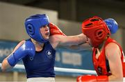 17 October 2018; Dearbhla Rooney, left, of Team Ireland, from Manorhamilton, Leitrim, in action against Te Mania Rzeka Tai Shelford-Edmonds of New Zealand during the women's featherweight bronze medal bout on Day 11 of the Youth Olympic Games in Buenos Aires, Argentina. Photo by Eóin Noonan/Sportsfile