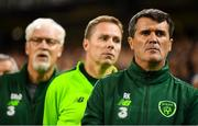 16 October 2018; Republic of Ireland assistant manager Roy Keane, right, assistant coach Steve Guppy and goalkeeping coach Seamus McDonagh, left, during the UEFA Nations League B group four match between Republic of Ireland and Wales at the Aviva Stadium in Dublin. Photo by Stephen McCarthy/Sportsfile