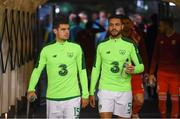 16 October 2018; John Egan, left, and Derrick Williams of Republic of Ireland prior to the UEFA Nations League B group four match between Republic of Ireland and Wales at the Aviva Stadium in Dublin. Photo by Stephen McCarthy/Sportsfile