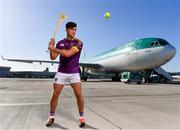 18 October 2018; Conor McDonald of Wexford was at Dublin Airport this morning where Aer Lingus, in partnership with the GAA and GPA, unveiled the one-of-a-kind customised playing kit for the Fenway Hurling Classic which takes place at Fenway Park in Boston on November 18th. Aer Lingus will once again be the Official Airline of the Event and will be responsible for flying the four teams to Boston. Photo by Sam Barnes/Sportsfile