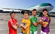 18 October 2018; Daniel Kearney of Cork, Podge Collins of Clare, Tom Morrissey of Limerick and Conor McDonald of Wexford, were at Dublin Airport this morning where Aer Lingus, in partnership with the GAA and GPA, unveiled the one-of-a-kind customised playing kit for the Fenway Hurling Classic which takes place at Fenway Park in Boston on November 18th. Aer Lingus will once again be the Official Airline of the Event and will be responsible for flying the four teams to Boston. Photo by Sam Barnes/Sportsfile