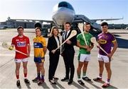 18 October 2018;  Ruth Ranson, Director of Communications Aer Lingus and Paul Flynn, GPA CEO, along with hurlers, from left, Daniel Kearney of Cork, Podge Collins of Clare, Tom Morrissey of Limerick and Conor McDonald of Wexford, were at Dublin Airport this morning where Aer Lingus, in partnership with the GAA and GPA, unveiled the one-of-a-kind customised playing kit for the Fenway Hurling Classic which takes place at Fenway Park in Boston on November 18th. Aer Lingus will once again be the Official Airline of the Event and will be responsible for flying the four teams to Boston. Photo by Sam Barnes/Sportsfile