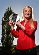 18 October 2018; Carla Rowe of Dublin with The Croke Park and LGFA Player of the Month award for September, at The Croke Park in Jones Road, Dublin. Carla was Player of the Match for Dublin in the 2018 TG4 All-Ireland Senior Final, in front of a record 50,141 attendance at Croke Park. The Clann Mhuire player scored two goals in the victory over Cork, as the Sky Blues retained the Brendan Martin Cup. Photo by Matt Browne/Sportsfile