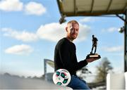 18 October 2018; Chris Shields of Dundalk with his SSE Airtricity/SWAI Player of the Month award for September, at Oriel Park in Dundalk, Co Louth. Photo by Seb Daly/Sportsfile