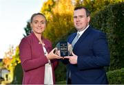 18 October 2018; Neamh Woods of Tyrone is presented with The Croke Park and LGFA Player of the Month award for August, by Sean Reid, Deputy General Manager, The Croke Park, at The Croke Park in Jones Road, Dublin. Neamh was outstanding for Tyrone in their TG4 All-Ireland Quarter and Semi-Finals in August, as the Red Hands made it to Croke Park. The Drumragh player then had the honour of captaining Tyrone to All-Ireland glory on September 16, while also earning the Player of the Match award in the Final against Meath. Photo by Matt Browne/Sportsfile
