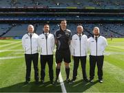 2 September 2018; Referee Sean Hurson and his umpires Martin Coney, Cathal Forbes, Mel Taggart and Martin Conway, prior to the Electric Ireland GAA Football All-Ireland Minor Championship Final match between Kerry and Galway at Croke Park in Dublin. Photo by Ray McManus/Sportsfile