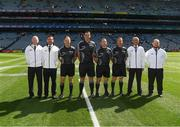 2 September 2018; Referee Sean Hurson, with linesman James Bermingham, linesman and standby referee Derek O'Mahoney, sideline official Eamon O'Grady and his umpires Martin Coney, Cathal Forbes, Mel Taggart and Martin Conway, prior to the Electric Ireland GAA Football All-Ireland Minor Championship Final match between Kerry and Galway at Croke Park in Dublin.  Sideline official Eamon O'Grady. Photo by Ray McManus/Sportsfile