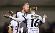 19 October 2018; Chris Shields, left, and Dylan Connolly of Dundalk celebrate their side's fifth goal scored by Patrick Hoban during the SSE Airtricity League Premier Division match between Dundalk and Sligo Rovers at Oriel Park in Dundalk, Louth. Photo by David Fitzgerald/Sportsfile