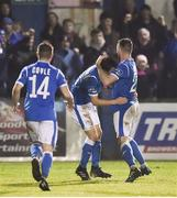 19 October 2018; Nathan Boyle of Finn Harps, right, celebrates with team-mate John Kavanagh after scoring his sides second goal during the SSE Airtricity League Promotion / Relegation Play-off Series 2nd leg match between Finn Harps and Drogheda United at Finn Park in Ballybofey, Co Donegal. Photo by Oliver McVeigh/Sportsfile