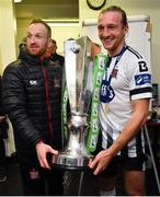 19 October 2018; Stephen O'Donnell, left, and John Mountney of Dundalk celebrate with the trophy after winning the SSE Aitricity League Premier Division, following the SSE Airtricity League Premier Division match between Dundalk and Sligo Rovers at Oriel Park in Dundalk, Louth. Photo by Seb Daly/Sportsfile