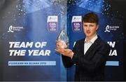 19 October 2018; Jake Morris of Tipperary with his award at the Bord Gáis Energy GAA Hurling U-21 Team of the Year Awards at City Hall in Dublin. Photo by Piaras Ó Mídheach/Sportsfile