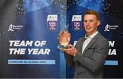 19 October 2018; Brian McGrath of Tipperary with his award at the Bord Gáis Energy GAA Hurling U-21 Team of the Year Awards at City Hall in Dublin. Photo by Piaras Ó Mídheach/Sportsfile