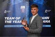 19 October 2018; Fintan Burke of Galway with his award at the Bord Gáis Energy GAA Hurling U-21 Team of the Year Awards at City Hall in Dublin. Photo by Piaras Ó Mídheach/Sportsfile