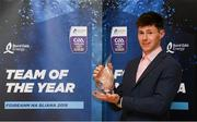19 October 2018; Cianan Fahy of Galway with his award at the Bord Gáis Energy GAA Hurling U-21 Team of the Year Awards at City Hall in Dublin. Photo by Piaras Ó Mídheach/Sportsfile