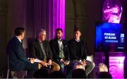 19 October 2018; Mícheál Ó Domhnaill, Team of the Year Judge and Presenter, with Team of the Year Judges, from left, Ger Cunningham, Ken McGrath, and Joe Canning, at the Bord Gáis Energy GAA Hurling U-21 Team of the Year Awards at City Hall in Dublin. Photo by Piaras Ó Mídheach/Sportsfile