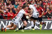 20 October 2018; Rory Scannell of Munster is tackled by Mark Atkinson, left, and Danny Cipriani of Gloucester during the Heineken Champions Cup Pool 2 Round 2 match between Munster and Gloucester at Thomond Park in Limerick. Photo by Diarmuid Greene/Sportsfile