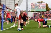 20 October 2018; Mike Haley of Munster scores his side's first try during the Heineken Champions Cup Pool 2 Round 2 match between Munster and Gloucester at Thomond Park in Limerick. Photo by Diarmuid Greene/Sportsfile
