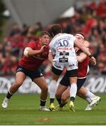 20 October 2018; Rory Scannell of Munster is tackled by Danny Cipriani of Gloucester, a tackle which resulted in Cipriani receiving a red card from referee Alexandre Ruiz, during the Heineken Champions Cup Pool 2 Round 2 match between Munster and Gloucester at Thomond Park in Limerick. Photo by Diarmuid Greene/Sportsfile
