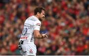 20 October 2018; Danny Cipriani of Gloucester leaves the pitch after receiving a red card from referee Alexandre Ruiz during the Heineken Champions Cup Pool 2 Round 2 match between Munster and Gloucester at Thomond Park in Limerick. Photo by Diarmuid Greene/Sportsfile