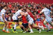 20 October 2018; Rory Scannell of Munster is tackled by Danny Cipriani of Gloucester, left, during the Heineken Champions Cup Pool 2 Round 2 match between Munster and Gloucester at Thomond Park in Limerick. Photo by Sam Barnes/Sportsfile