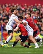 20 October 2018; Rory Scannell of Munster is tackled by Danny Cipriani of Gloucester, left, and Josh Hohneck, right, during the Heineken Champions Cup Pool 2 Round 2 match between Munster and Gloucester at Thomond Park in Limerick. Photo by Sam Barnes/Sportsfile