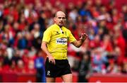 20 October 2018; Referee Alexandre Ruiz during the Heineken Champions Cup Pool 2 Round 2 match between Munster and Gloucester at Thomond Park in Limerick. Photo by Sam Barnes/Sportsfile