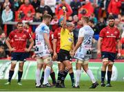 20 October 2018; Tom Savage of Gloucester is shown a yellow card by referee Alexandre Ruiz during the Heineken Champions Cup Pool 2 Round 2 match between Munster and Gloucester at Thomond Park in Limerick. Photo by Sam Barnes/Sportsfile