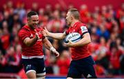 20 October 2018; Andrew Conway of Munster, right, celebrates after scoring his side's fifth try with Alby Mathewson during the Heineken Champions Cup Pool 2 Round 2 match between Munster and Gloucester at Thomond Park in Limerick. Photo by Sam Barnes/Sportsfile