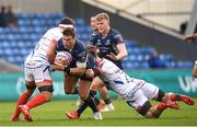 20 October 2018; Tom Farrell of Connacht is tackled by Jono Ross, left,  and Ben Curry of Sale Sharks during the Heineken Challenge Cup Pool 3 Round 2 match between Sale Sharks and Connacht at AJ Bell Stadium, in Salford, England. Photo by Harry Murphy/Sportsfile