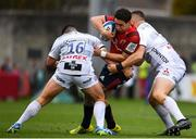 20 October 2018; Joey Carbery of Munster is tackled by Henry Walker, left, and Val Rapava Ruskin of Gloucester during the Heineken Champions Cup Pool 2 Round 2 match between Munster and Gloucester at Thomond Park in Limerick. Photo by Sam Barnes/Sportsfile