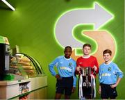 22 October 2018; Victor Akinbola, left, Aron Crowly-Smith, centre, and Calum Finlayson were on hand to help Subway® launch the 2018/2019 Subway® Schoolboys Football Association of Ireland Championships. This is year three of the Subway® brand's sponsorship of the inter-league competitions at Under-12, 13, 15 and 16 age-levels, which are contested provincially before concluding with the national semi-finals and final. Photo by Stephen McCarthy/Sportsfile