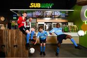 22 October 2018; Aron Crowly-Smith, left, Calum Finlayson, centre, and Victor Akinbola were on hand to help Subway® launch the 2018/2019 Subway® Schoolboys Football Association of Ireland Championships. This is year three of the Subway® brand's sponsorship of the inter-league competitions at Under-12, 13, 15 and 16 age-levels, which are contested provincially before concluding with the national semi-finals and final. Photo by Stephen McCarthy/Sportsfile