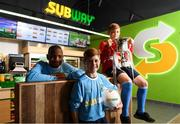 22 October 2018; Victor Akinbola, left, Calum Finlayson, centre, and Aron Crowly-Smith were on hand to help Subway® launch the 2018/2019 Subway® Schoolboys Football Association of Ireland Championships. This is year three of the Subway® brand's sponsorship of the inter-league competitions at Under-12, 13, 15 and 16 age-levels, which are contested provincially before concluding with the national semi-finals and final. Photo by Stephen McCarthy/Sportsfile