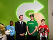 22 October 2018; John Earley, SFAI Chairperson and FAI Board Member, and Petera Vrancic, SUBWAY Balbriggan manager, alongside Victor Akinbola, left, and Aaron Crowley-Smith were on hand to help Subway® launch the 2018/2019 Subway® Schoolboys Football Association of Ireland Championships. This is year three of the Subway® brand's sponsorship of the inter-league competitions at Under-12, 13, 15 and 16 age-levels, which are contested provincially before concluding with the national semi-finals and final. Photo by Stephen McCarthy/Sportsfile