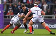 20 October 2018; Tom Farrell of Connacht is tackled by Jono Ross, left, and Ross Harrison of Sale Sharks during the Heineken Challenge Cup Pool 3 Round 2 match between Sale Sharks and Connacht at AJ Bell Stadium, in Salford, England. Photo by Harry Murphy/Sportsfile