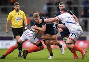 20 October 2018; Kyle Godwin of Connacht is tackled by Josh Beaumont, left, and James Phillips of Sale Sharks during the Heineken Challenge Cup Pool 3 Round 2 match between Sale Sharks and Connacht at AJ Bell Stadium, in Salford, England. Photo by Harry Murphy/Sportsfile