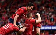 20 October 2018; Sam Arnold of Munster, right, is congratulated by teammates, from left, Alby Mathewson, Joey Carbery and Andrew Conway during the Heineken Champions Cup Pool 2 Round 2 match between Munster and Gloucester at Thomond Park in Limerick. Photo by Sam Barnes/Sportsfile