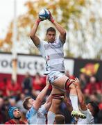 20 October 2018; Gerbrandt Grobler of Gloucester wins possession in a lineout during the Heineken Champions Cup Pool 2 Round 2 match between Munster and Gloucester at Thomond Park in Limerick. Photo by Diarmuid Greene/Sportsfile