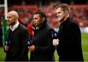 20 October 2018; Gloucester captain Willie Heinz, former Springbok Bryan Habana and former Ireland international Jamie Heaslip, all on duty for Channel 4 Sport, prior to the Heineken Champions Cup Pool 2 Round 2 match between Munster and Gloucester at Thomond Park in Limerick. Photo by Diarmuid Greene/Sportsfile