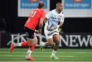 20 October 2018; Simon Zebo of Racing 92 in action against Will Addison of Ulster during the Heineken Champions Cup Pool 4 Round 2 match between Racing 92 and Ulster at Paris La Defence Arena, in Paris, France. Photo by Brendan Moran/Sportsfile