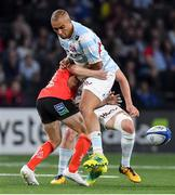 20 October 2018; Simon Zebo of Racing 92 is tackled by David Shanahan of Ulster during the Heineken Champions Cup Pool 4 Round 2 match between Racing 92 and Ulster at Paris La Defence Arena, in Paris, France. Photo by Brendan Moran/Sportsfile